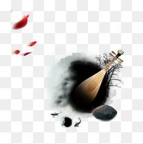 水墨画中的琵琶