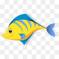 卡通手绘可爱黄色小鱼