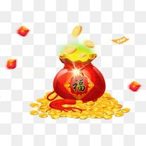 新年节日福袋撒金币装饰免扣素材