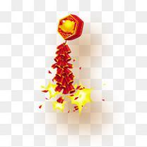 新年燃放红色鞭炮