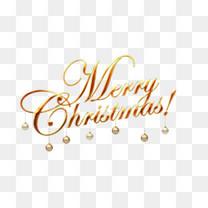 圣诞快乐铃铛英文艺术字