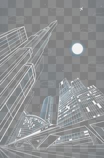 白色线条城市建筑设计