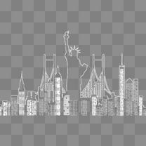 创意纽约城市剪影矢量素材