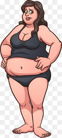 矢量手绘胖女人