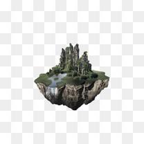 岩石漂浮岛屿