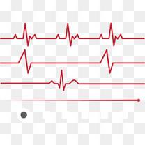 红色扁平心电图