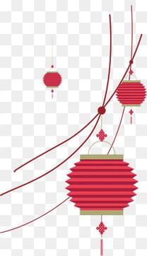 红色灯笼与线条