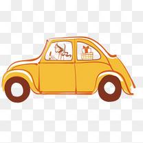 卡通彩绘车与女司机