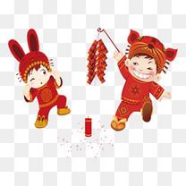 放鞭炮的孩子春节过年年味
