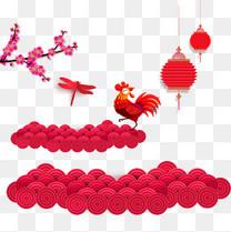 红色扁平化新年祥云和折叠式灯笼中国风宣传页