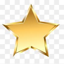 金色立体五角星图形