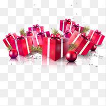 玫红色礼物盒子素材
