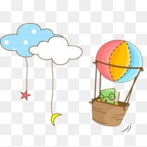 云朵热气球儿童画素材