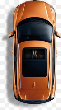 橙色汽车俯视图