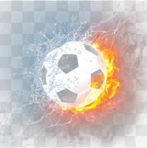高清水火交融燃烧足球