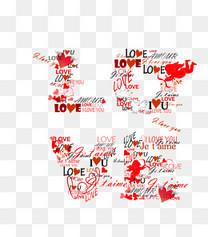 矢量红色四款love天使图案