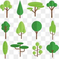 扁平化绿色春树