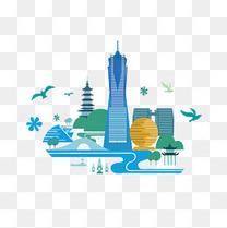 杭州建筑扁平化免费素材
