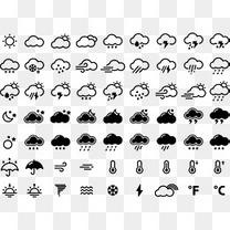 黑色线条天气插件图标矢量