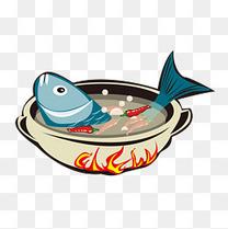 卡通美食餐饮火锅涮鱼