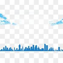 云朵天空城市剪影蓝色背景