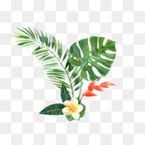 手绘树叶鲜花装饰