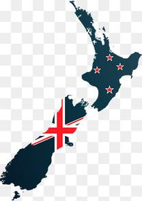 新西兰地图上的国旗
