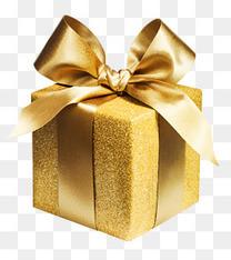 金色亮粉蝴蝶结礼盒装饰图案