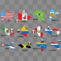 美洲地图矢量素材