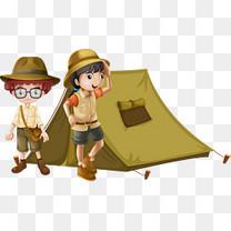 矢量手绘帐篷