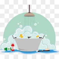 绿色清新洗澡泡沫矢量图