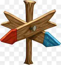 矢量手绘木头路牌