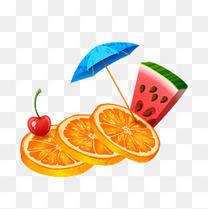 夏日热带水果背景矢量素材