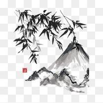 水墨山水竹子国画