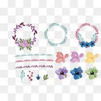 碎花花朵圆形花框