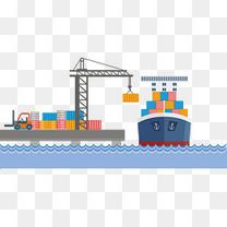 矢量手绘港口海运