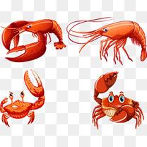 矢量手绘虾蟹