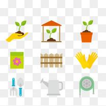 矢量植物和种植工具