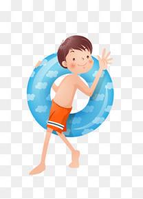 拿游泳圈的小男孩