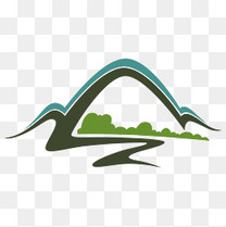 手绘山风景logo素材