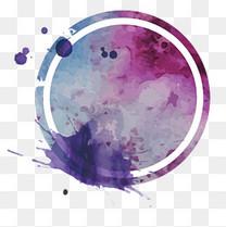 圆形水彩墨迹