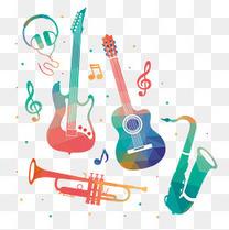 音乐元素 彩色 吉他 音符