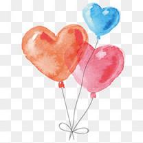 矢量手绘心形气球