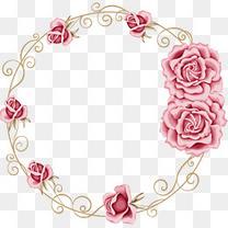 花卉 边框 圆环 花纹 淡粉色  装饰图案