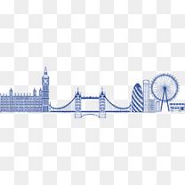 手绘英国伦敦街景