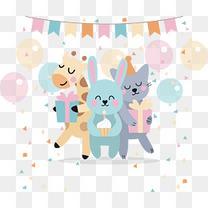 可爱动物生日派对