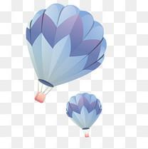 卡通清新热气球矢量