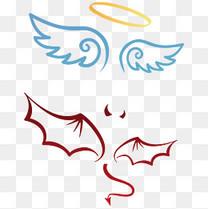 天使 翅膀 恶魔 线条 装饰图案
