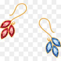 蓝宝石红宝石耳环