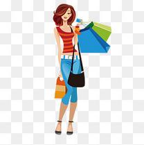 卡通时尚购物女子矢量素材
